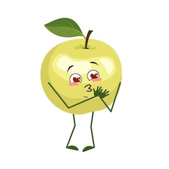 Der süße apfelcharakter verliebt sich in augenherzen, arme und beine. der lustige oder lächelnde held, grüne frucht. flache vektorgrafik