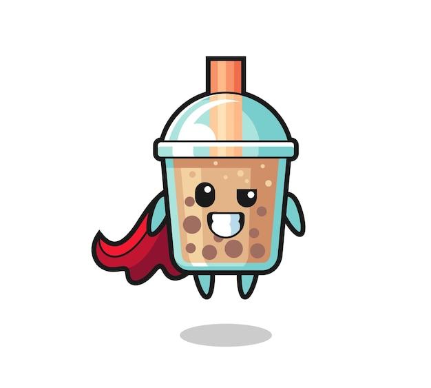 Der süße bubble tea-charakter als fliegender superheld, süßes stildesign für t-shirt, aufkleber, logo-element