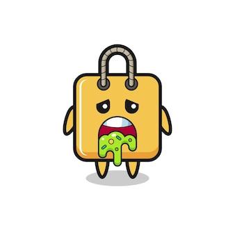 Der süße einkaufstaschen-charakter mit kotze, süßes stildesign für t-shirt, aufkleber, logo-element