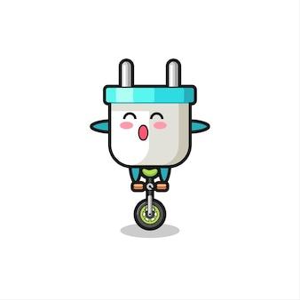 Der süße elektrostecker-charakter fährt ein zirkusrad, süßes stildesign für t-shirt, aufkleber, logo-element