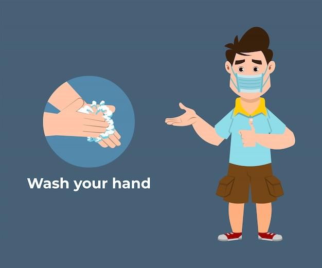 Der süße junge empfiehlt, viren vorzubeugen, indem sie ihre hände mit einem händedesinfektionsmittel waschen