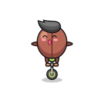 Der süße kaffeebohnen-charakter fährt ein zirkusrad, süßes stildesign für t-shirt, aufkleber, logo-element