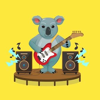 Der süße koala ist ein großartiger gitarrist, um den australian day zu feiern