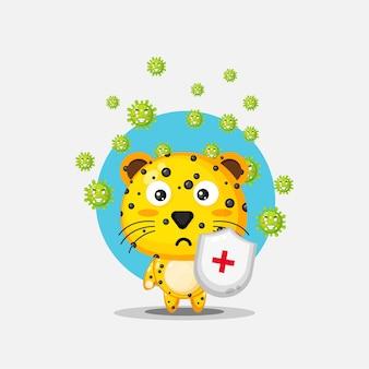 Der süße leopard hat einen virus