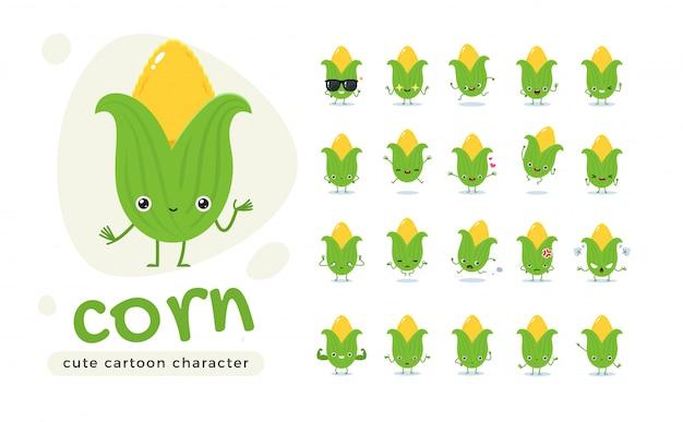 Der süße mais. süßes gemüse. isolierte illustration