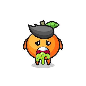Der süße mandarin-orangen-charakter mit kotze, süßes stildesign für t-shirt, aufkleber, logo-element