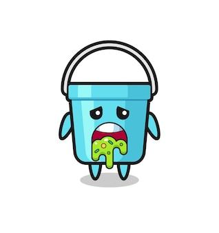 Der süße plastikeimer-charakter mit kotze, süßes design für t-shirt, aufkleber, logo-element