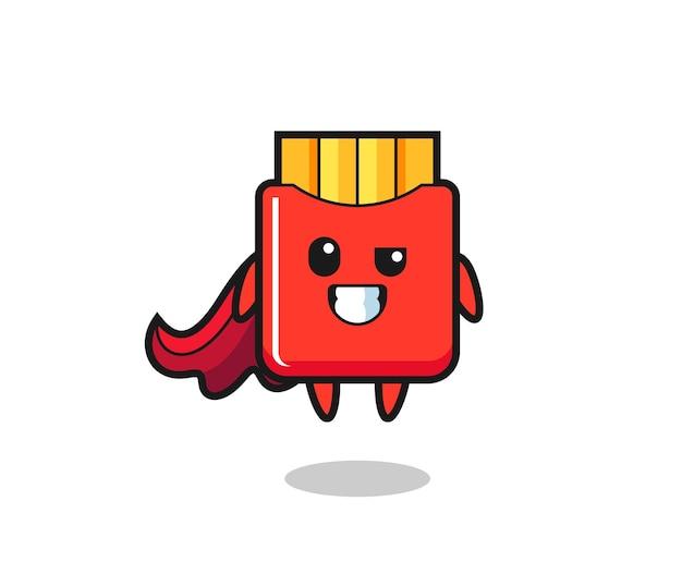 Der süße pommes-charakter als fliegender superheld, süßes stildesign für t-shirt, aufkleber, logo-element