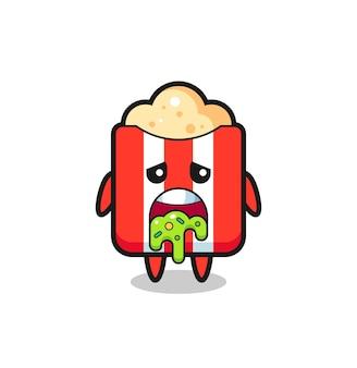 Der süße popcorn-charakter mit kotze, süßes stildesign für t-shirt, aufkleber, logo-element