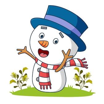 Der süße schneemann gibt den glücklichen ausdruck der illustration