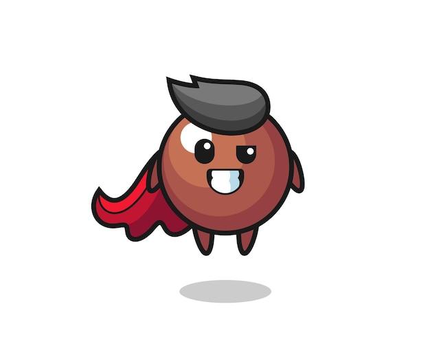Der süße schokoladenball-charakter als fliegender superheld, süßes stildesign für t-shirt, aufkleber, logo-element
