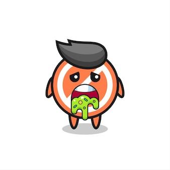 Der süße stoppschild-charakter mit kotze, süßes stildesign für t-shirt, aufkleber, logo-element