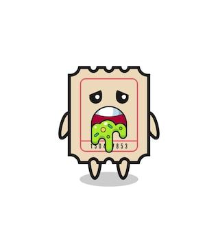 Der süße ticket-charakter mit kotze, süßem stildesign für t-shirt, aufkleber, logo-element