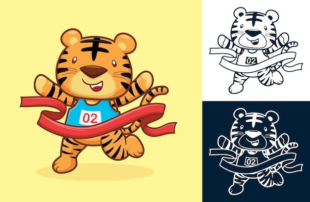 Der süße tiger gewinnt, indem er die ziellinie überquert. karikaturillustration im flachen ikonenstil