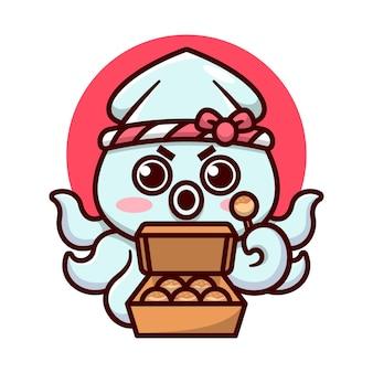 Der süße tintenfisch, der ein japanisches stirnband trägt, hält eine schachtel mit köstlichem takoyaki-hochwertigem cartoon-maskottchen-design
