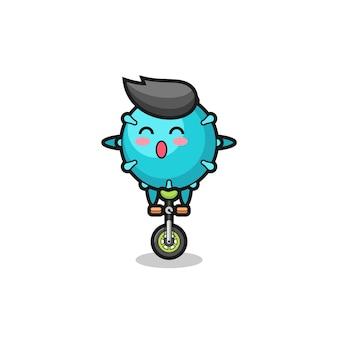 Der süße virus-charakter fährt ein zirkusrad, süßes stildesign für t-shirt, aufkleber, logo-element