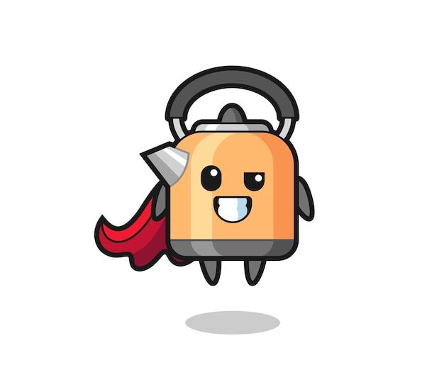Der süße wasserkocher-charakter als fliegender superheld, süßes stildesign für t-shirt, aufkleber, logo-element