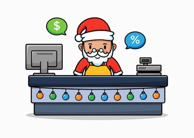 Der süße weihnachtsmann arbeitet als kassierer