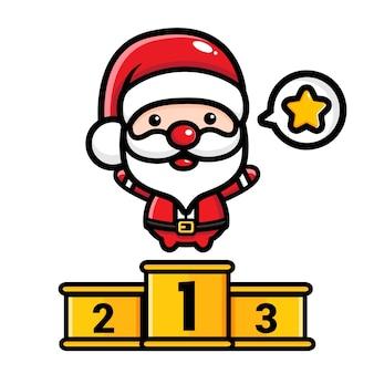 Der süße weihnachtsmann gewann den 1. platz