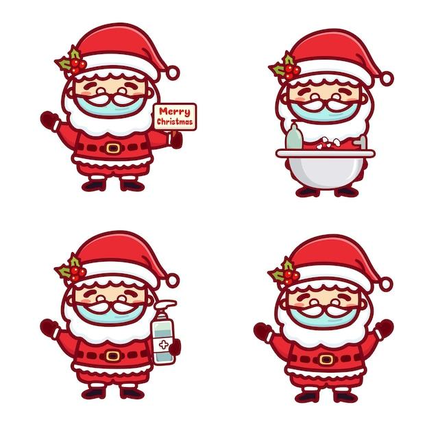 Der süße weihnachtsmann trägt eine medizinische maske, wäscht sich die hände und verwendet händedesinfektionsmittel, um das coronavirus covid-1 zu schützen. neues normales weihnachtskonzept