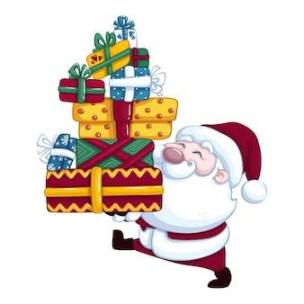 Der süße weihnachtsmann trägt schachteln mit geschenken. karikatur isolierte figur für weihnachten oder neujahr.