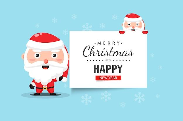 Der süße weihnachtsmann wünscht ihnen frohe weihnachten und ein gutes neues jahr