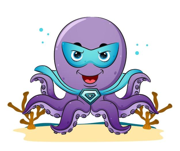 Der super-oktopus mit der maske und dem hellen umhang der illustration