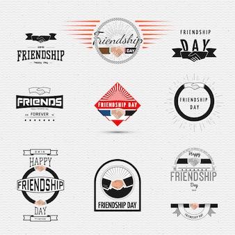 Der tag der freundschaft kennzeichnet logos und etiketten