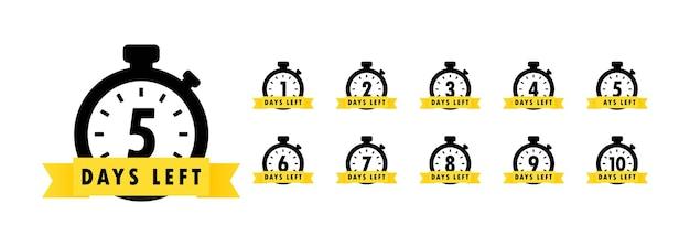 Der tagessymbol-countdown für die verbleibenden tage