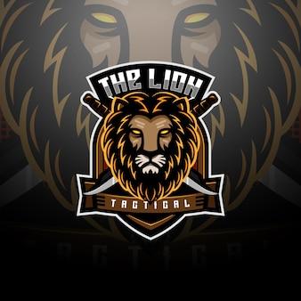 Der taktische logo-esport des löwen