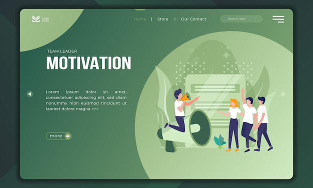 Der teamleiter motiviert, die abbildungen unterstützen das team