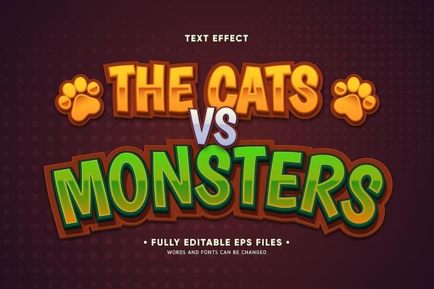 Der texteffekt autos gegen monster