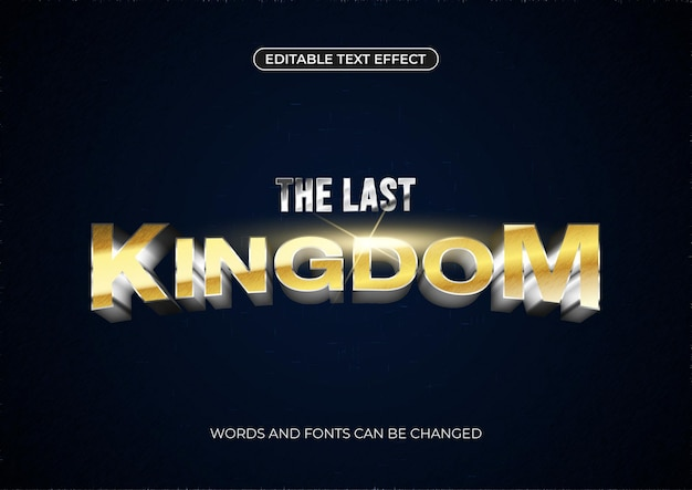 Der texteffekt des letzten königreichs. bearbeitbarer goldener text mit glänzender blendung auf dunklem hintergrund
