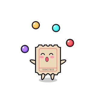 Der ticket-zirkus-cartoon, der mit einem ball jongliert, niedliches design für t-shirt, aufkleber, logo-element