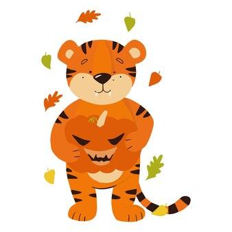 Der tiger hält einen kürbis, der von wirbelnden blättern umgeben ist. malbuch für kinder mit farbbeispiel. vektor-illustration.