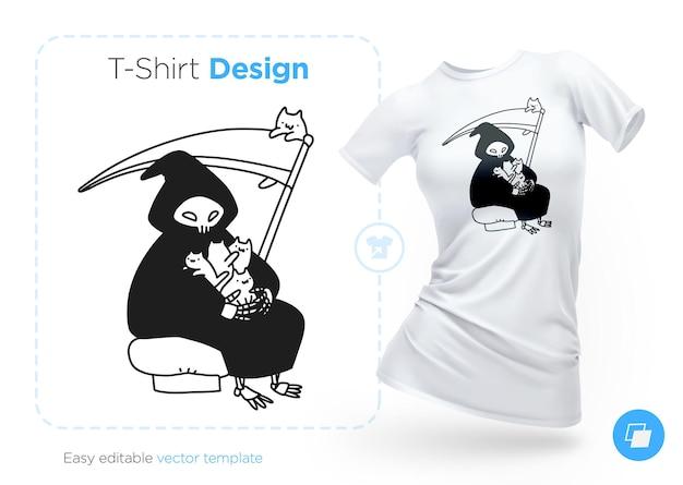 Der tod sitzt mit einer katze in seinen armen t-shirt design print für kleidung poster oder souvenirs