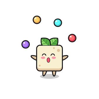 Der tofu-zirkus-cartoon, der mit einem ball jongliert, niedliches design für t-shirt, aufkleber, logo-element