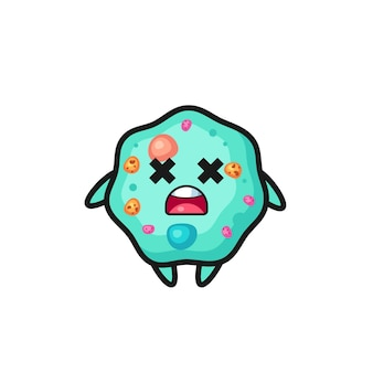 Der tote amöben-maskottchen-charakter, süßes design für t-shirt, aufkleber, logo-element