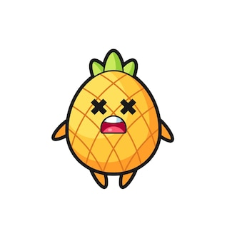 Der tote ananas-maskottchen-charakter, süßes design für t-shirt, aufkleber, logo-element