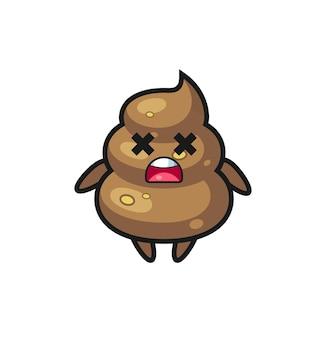 Der tote poop-maskottchen-charakter, niedliches design für t-shirt, aufkleber, logo-element
