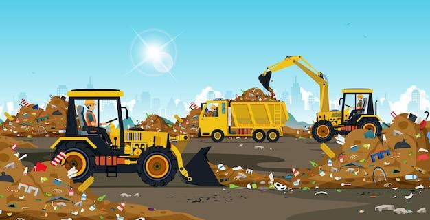 Der traktorfahrer verwaltet die müllkippe aus der stadt