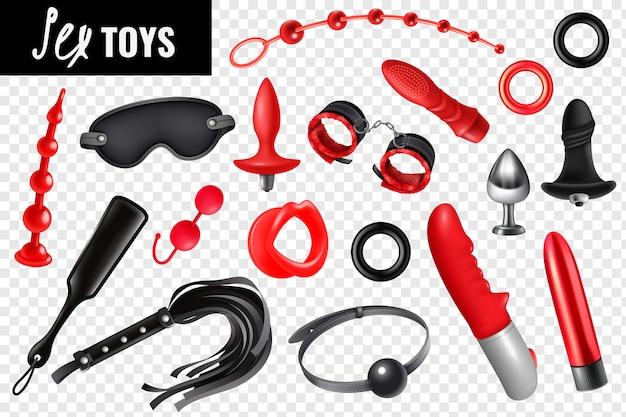Der transparente satz sexspielzeugs für bdsm mit realistischen ikonen des ledernen peitschenmaskenarmband-vibrators lokalisierte illustration