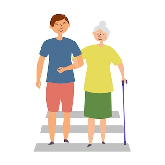 Der typ hilft der großmutter mit behinderung über die straße