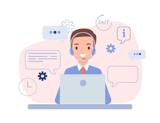 Der typ ist ein operator mit kopfhörern und einem laptop. technischer support für kunden rund um die uhr, telefon-hotline für unternehmen. vektorillustration im flachen stil.