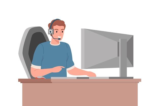 Der typ spielt online computerspiele mit seinen rivalen. karikaturvektor