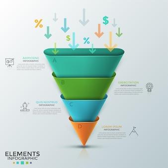 Der umgekehrte kegel oder die abgerundete pyramide bestand aus 4 bunten teilen, pfeilen, prozent- und dollarsymbolen, die darin fielen, dünnen liniensymbolen und textfeldern. infografik-design-vorlage.