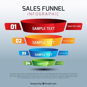 Der umsatz infografik vorlage mit vier bunten bühnen