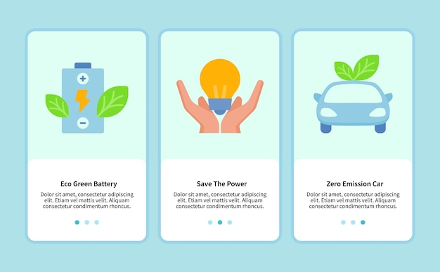 Der umweltfreundliche akku spart strom für die vorlage für mobile apps im internet
