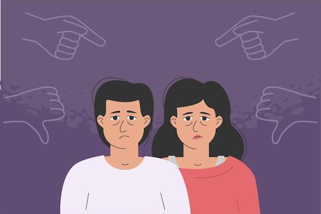 Der unglückliche mann und die unglückliche frau werden gemobbt. kritische, abwertende gesten richten sich an depressive charaktere. das konzept eines missbrauchs.