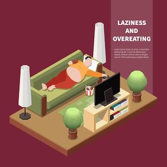 Der unter völlerei leidende dicke mann liegt auf dem sofa und isst fast food vor der isometrischen 3d-darstellung des fernsehers